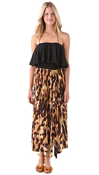 Tbags Los Angeles Halter Flutter Maxi Dress