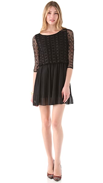 MISA Lace Dress with Chiffon Skirt