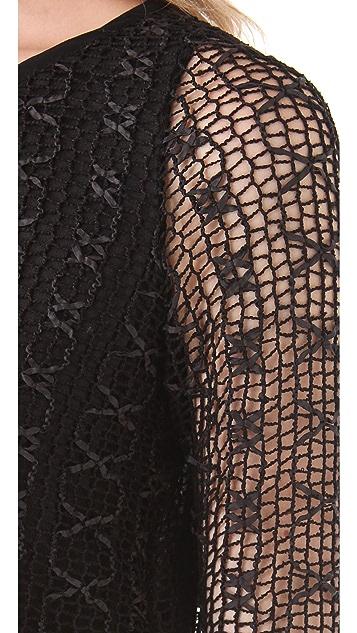 MISA Lace Dress with Chiffon Skirt