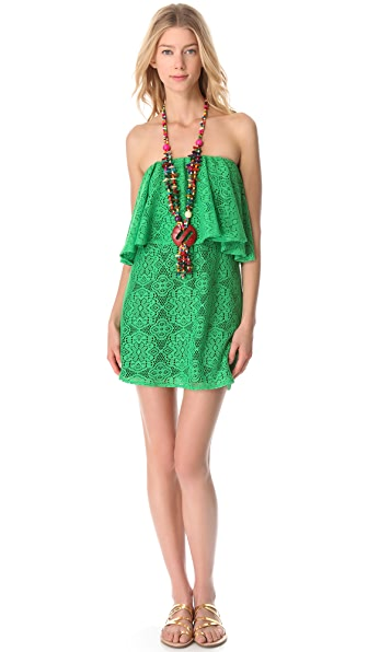 MISA Strapless Crochet Necklace Dress