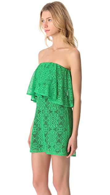MISA Strapless Crochet Necklace Dress