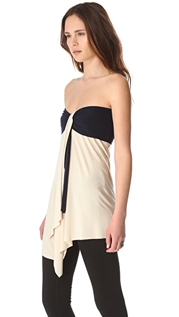 MISA Strapless Draped Top