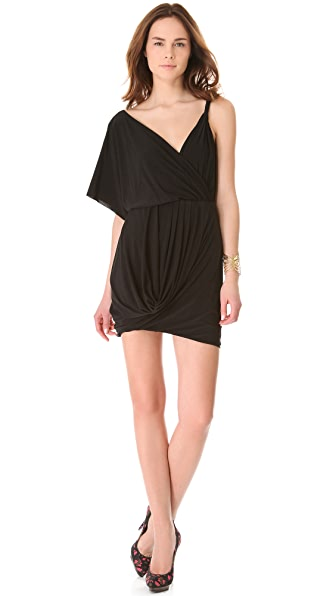 MISA Shoulder Drape Dress