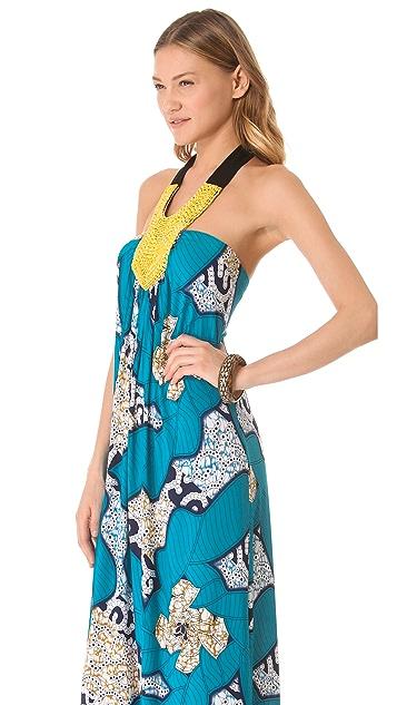 MISA Maxi Dress with Beaded Bib