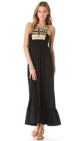 MISA Maxi Dress with Embroidered Bib