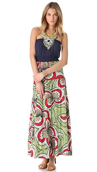 MISA Print Maxi Dress with Beaded Bib