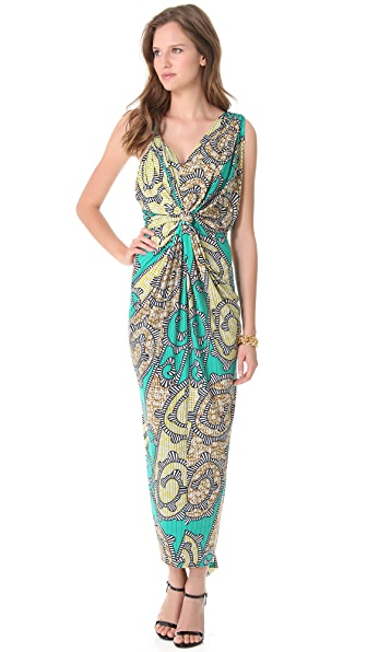 MISA Ruched Maxi Dress