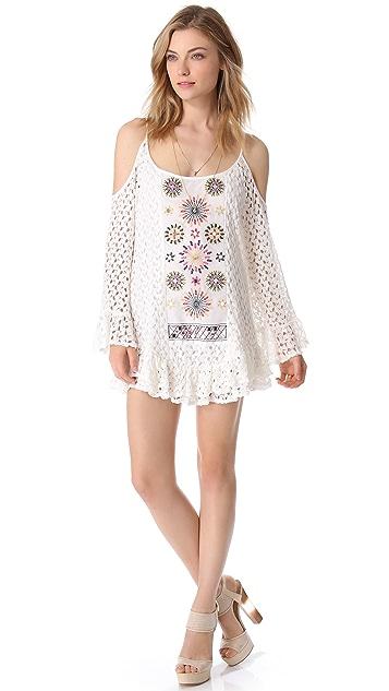 MISA Crochet Mini Dress with Cutouts