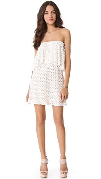 MISA Tiered Strapless Crochet Dress