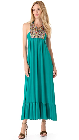 Tbags Los Angeles Embellished Bib Maxi Dress