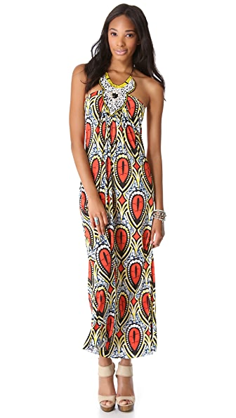 MISA Embellished Halter Maxi Dress