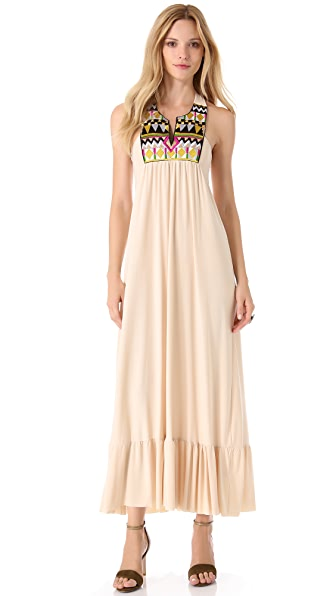 MISA Embellished V Neck Maxi Dress