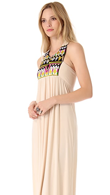 MISA Embellished V Neck Maxi Dress