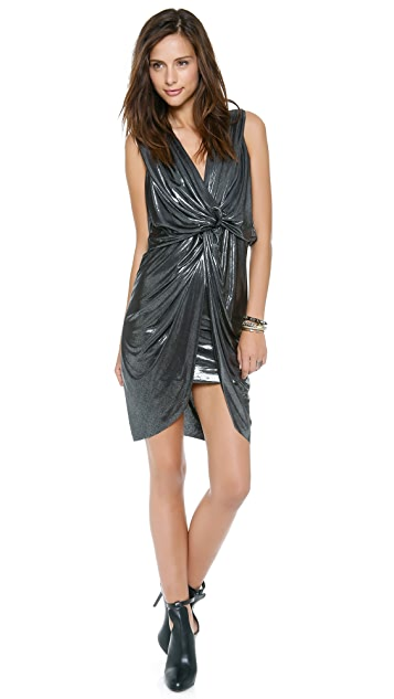 MISA Sleeveless Twist Front Dress