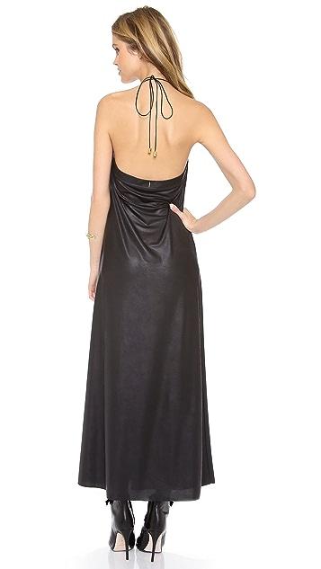 MISA Faux Leather Long Dress