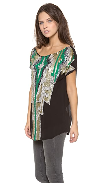 MISA Aztec Sequin Top