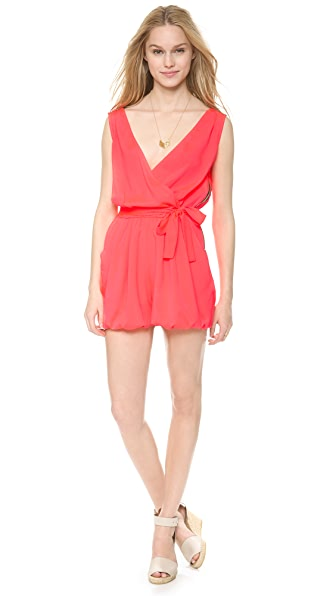 Tbags Los Angeles V Neck Romper with Tie