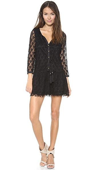 MISA 3/4 Sleeve Crochet Mini Dress