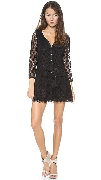 Tbags Los Angeles 3/4 Sleeve Crochet Mini Dress
