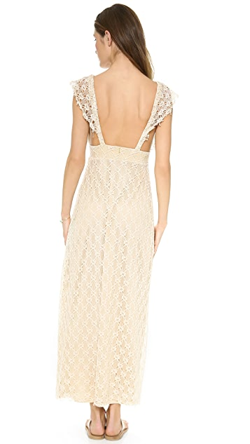 MISA V Neck Crochet Maxi Dress