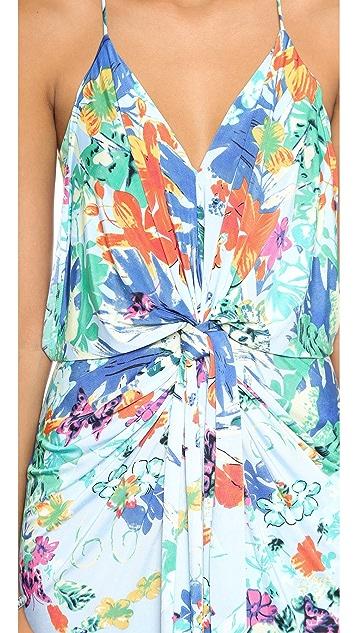 MISA V Neck Dress with Knot Detail