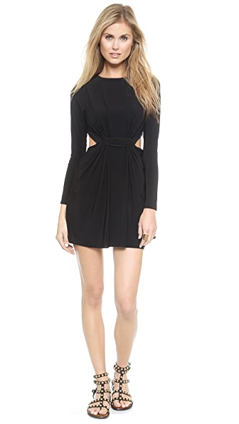 MISA Long Sleeve Cutout Mini Dress