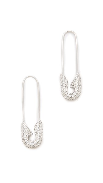 TOM BINNS Pave Safety Pin Earrings