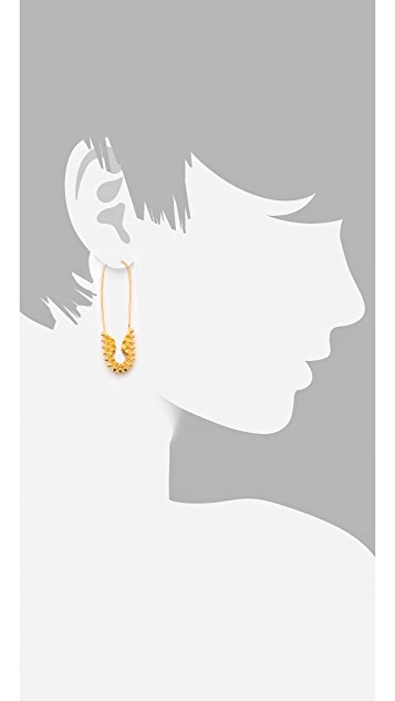 TOM BINNS Punk Pave Short Safety Pin Earrings