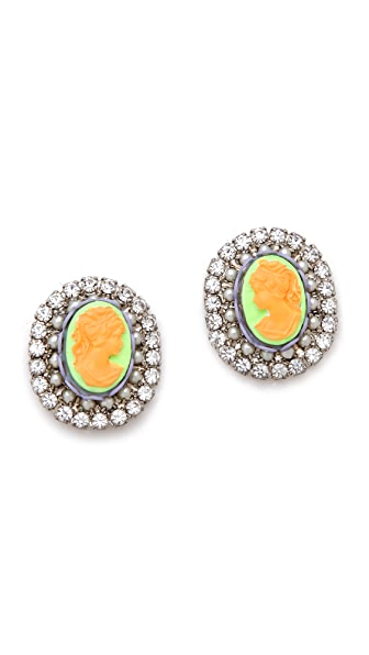 TOM BINNS Cameo Jobim Pearl & Crystal Earrings