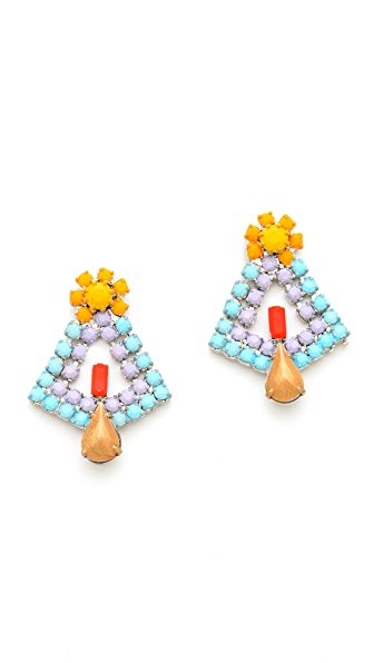 TOM BINNS Neon Crystal Earrings