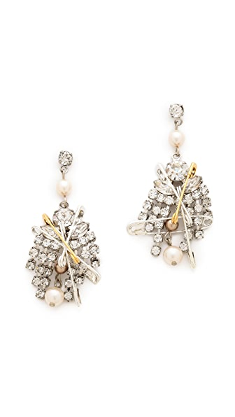 TOM BINNS Safety Pin & Crystal Earrings