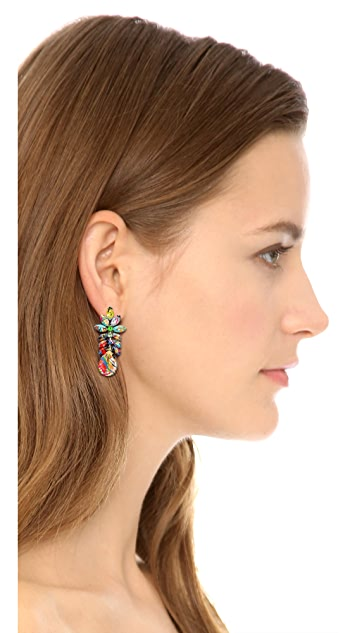 TOM BINNS A Riot of Color Splash Crystal Earrings