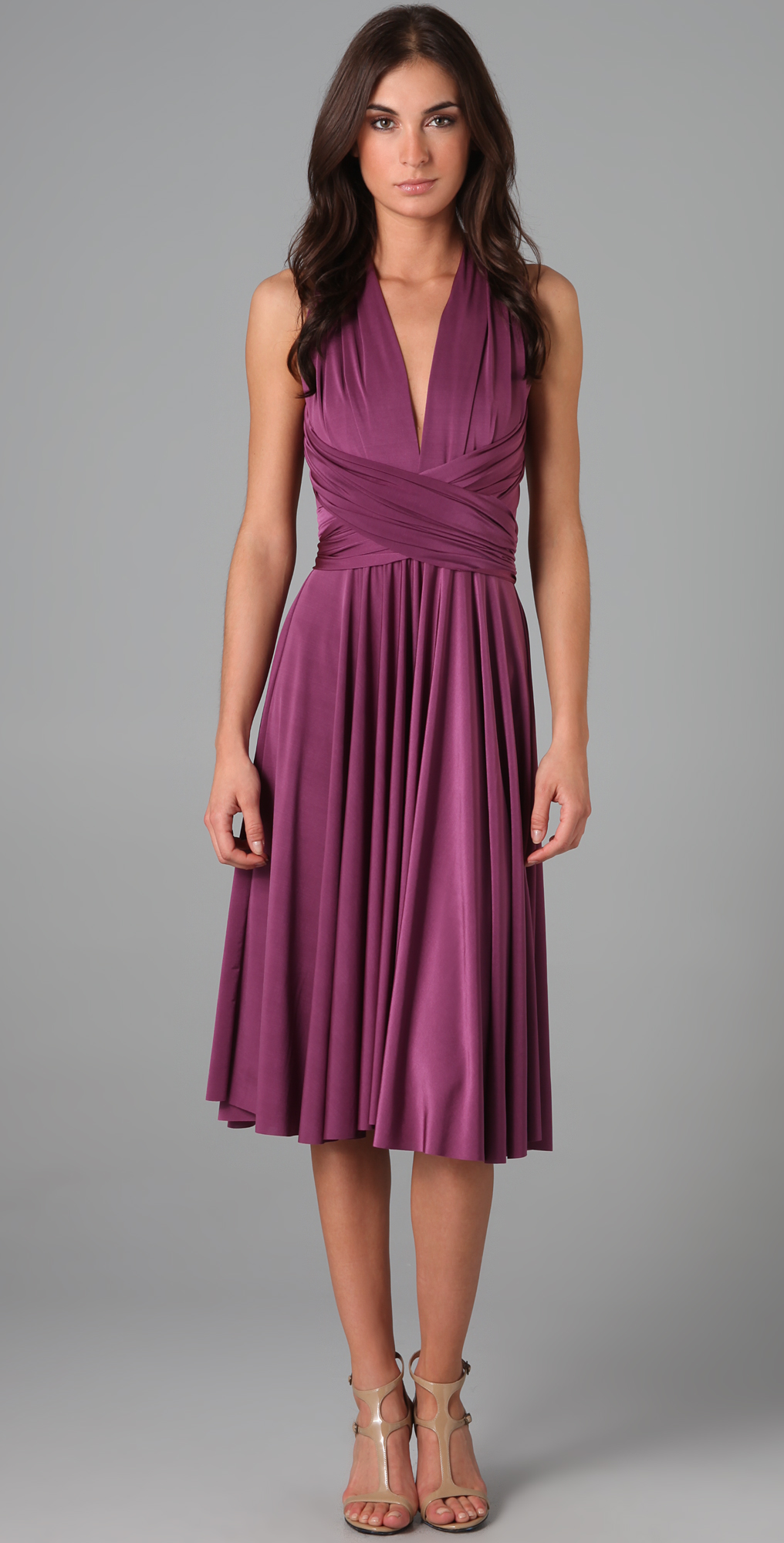 tea length peplum dress purple
