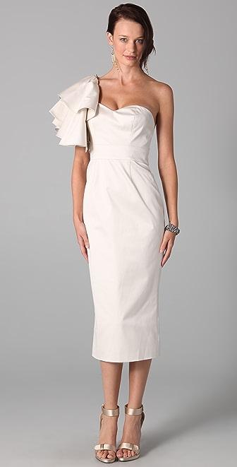Temperley London One Shoulder Ruffle Dress
