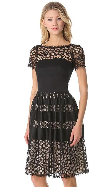 Temperley London Graphic Tile Lace Dress