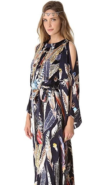 Temperley London Long Feather Print Dress