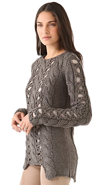 Tess Giberson Cable Sweater with Crochet Chain