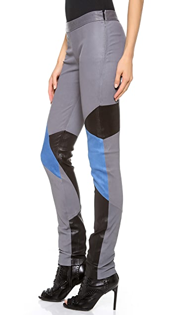 Tess Giberson Colorblock Leather Leggings