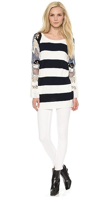 Tess Giberson Striped & Crochet Pullover