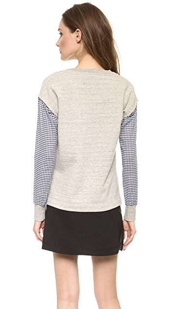 Tess Giberson Spliced Shirting Sweatshirt