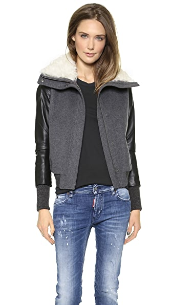 Tess Giberson Bomber with Fur Collar