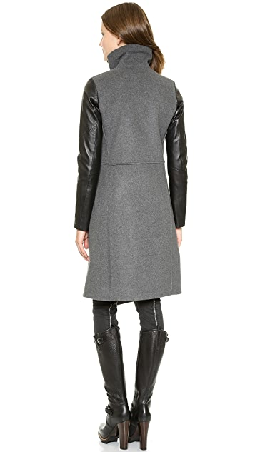 Tess Giberson Funnel Neck Coat with Leather Sleeves