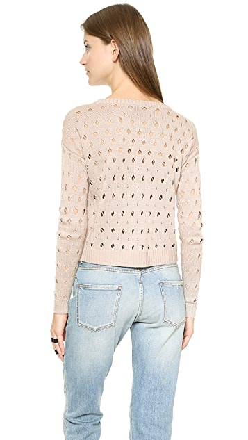 Tess Giberson Cropped Knit Pointelle Sweater