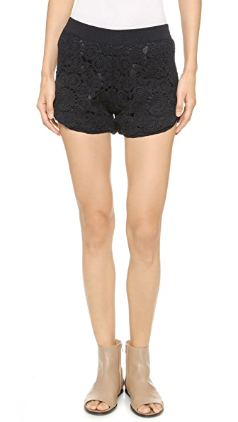 Tess Giberson Floral Crochet Shorts