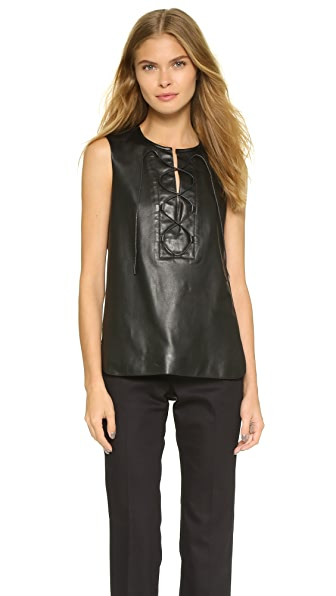 Tess Giberson Lace Up Leather Panel Top - Black