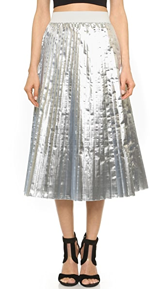 Tess Giberson Metallic Foil Pleated Skirt