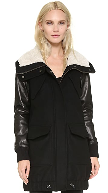 Tess Giberson Wool Jacket with Leather Sleeves