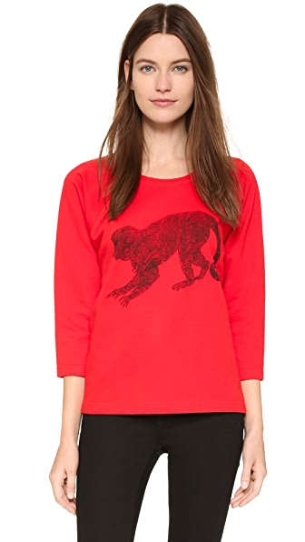 Tess Giberson Monkey Sweatshirt - Red/Black
