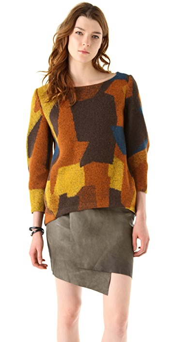 Thakoon Addition Patchwork Seamed Pullover
