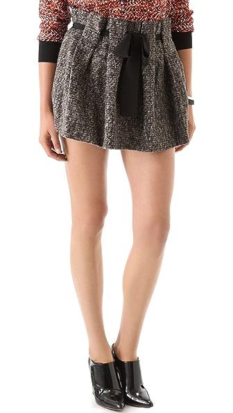 Thakoon Addition Boiled Tweed Belted Ruffle Miniskirt